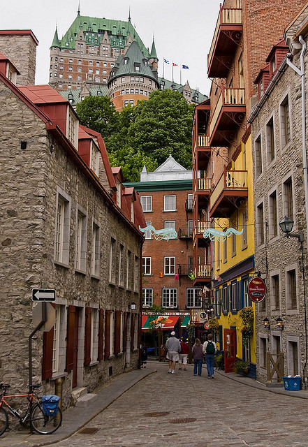 Chateau Frontenac above the old town of Quebec City, Canada