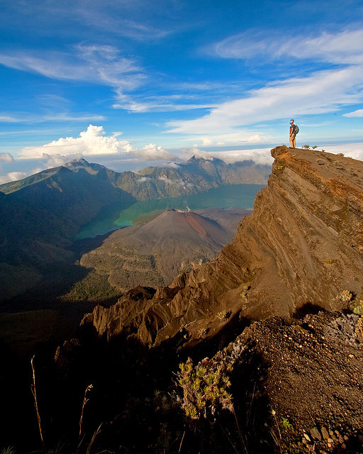 Looking out over the crater of Gunung Rinjani Volcano, Indonesia