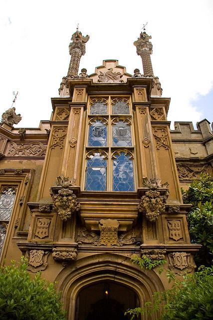Gothic entrance at Knebworth House in Hertfordshire, England