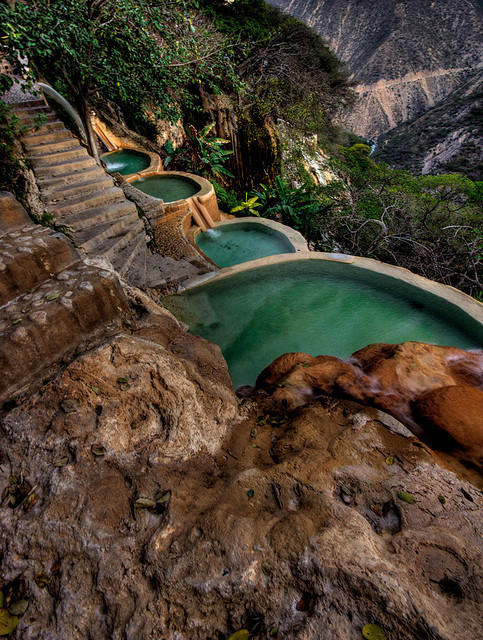 Hot water springs at Grutas de Tolantongo, Hidalgo, Mexico