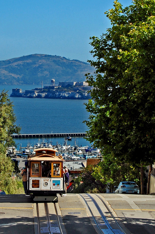 The famous cable car and Alcatraz Island in San Francisco, USA