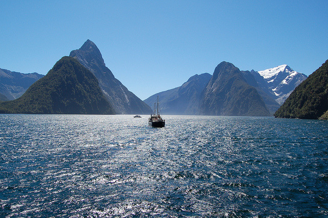 by MadGrin on Flickr.Milford Sound is a fjord in the south west of New Zealand's South Island, within Fiordland National Park. Is acclaimed as New Zealand's most famous tourist destination. Rudyard...