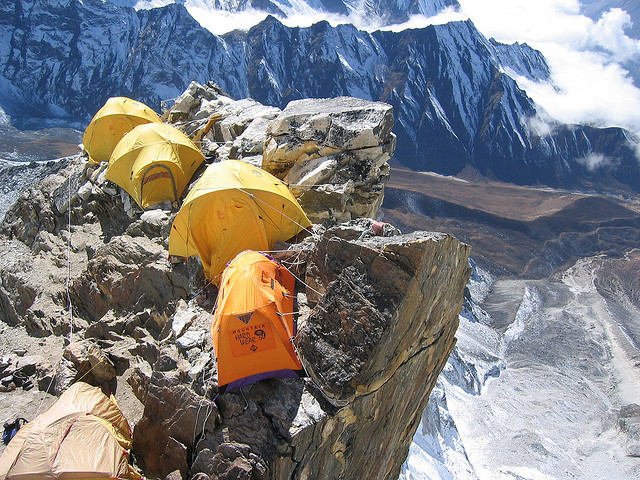 by distantpeak on Flickr.High camp on the edge, Ama Dablam Expedition, Nepal.