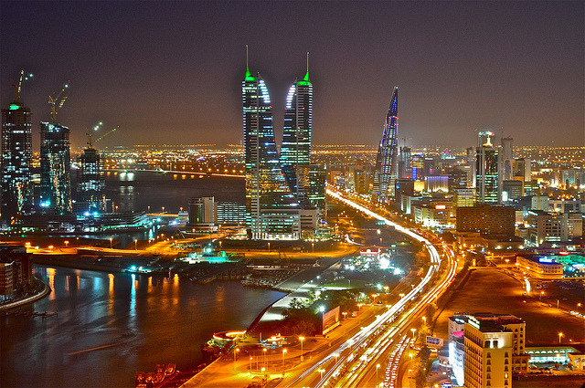 by Talal Maraghi on Flickr.Manama City night view, Bahrain.