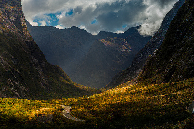 by CoolbieRe on Flickr.The road to Milford Sound in Fiordland, New Zealand.