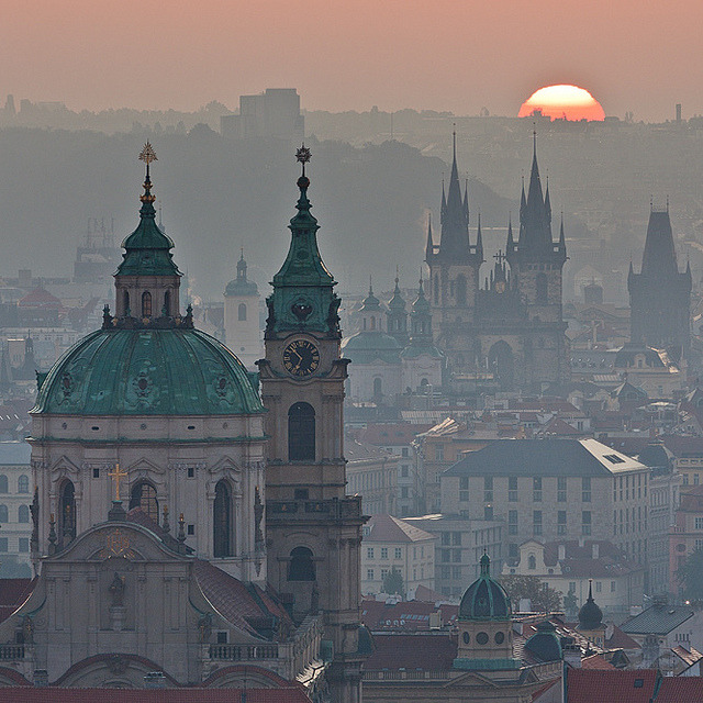 by Tomas Megis on Flickr.When the sun welcomes a new day in the romantique city of Prague, Czech Republic.