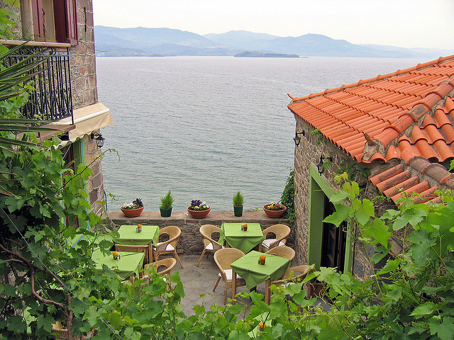 by Fozzman on Flickr.Perfect location for a romantic dinner, Lesbos Island, Greece.