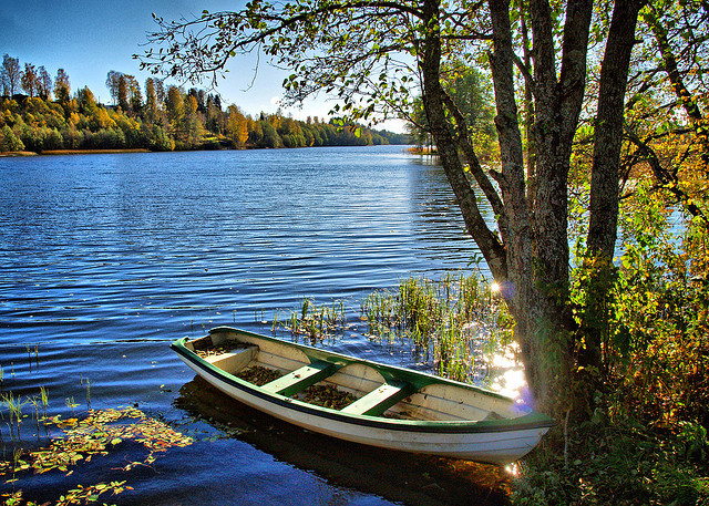 by Krogen on Flickr.Boat at the lake in Akershus County, southern Norway.