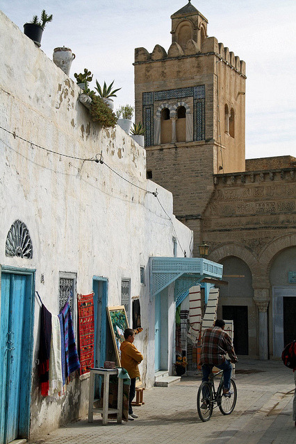 by Malcolm Bott on Flickr.Street scene in Kairouan, Tunisia.