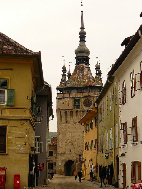 The Clock Tower in Sighisoara, the most well-preserved medieval town in Transylvania, Romania