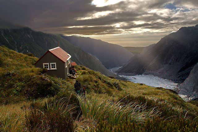 Evening at Chancellor hut, above the middle ice fall of the Fox Glacier, New Zealand