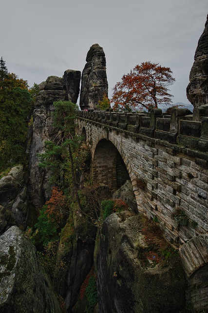 The bridge at Bastei rock formations, Saxon Switzerland, Germany