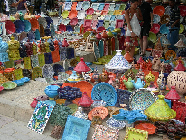 Colorful pottery in Djerba bazaar, Tunisia