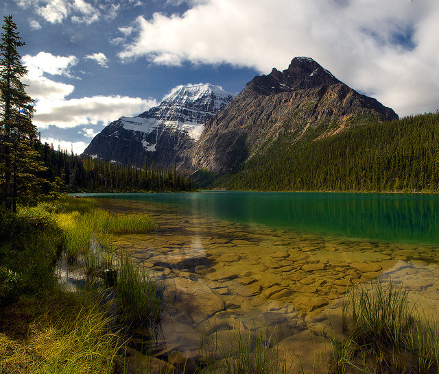 Panorama of Lake Edith Cavell in Jasper National Park, Canada