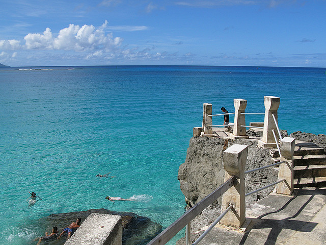 Diving platform at Taga Beach, Tinian Island, Northern Marianas