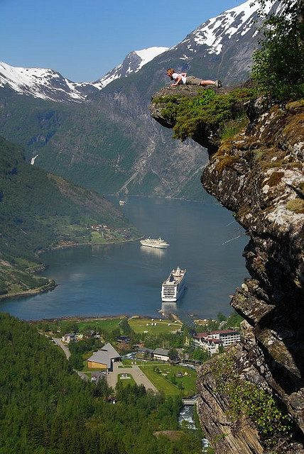 Looking over the edge of Flydalsjuvet, Geirangerfjord, Norway