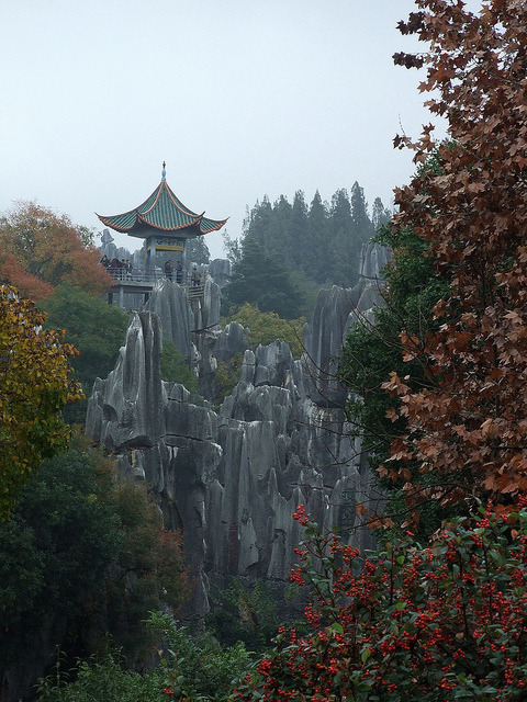 Small shrine on top of Shilin Stone Forest, Yunnan, China