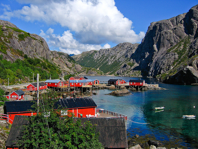 Small fishing village in Nusfjord, Lofoten Islands, Norway
