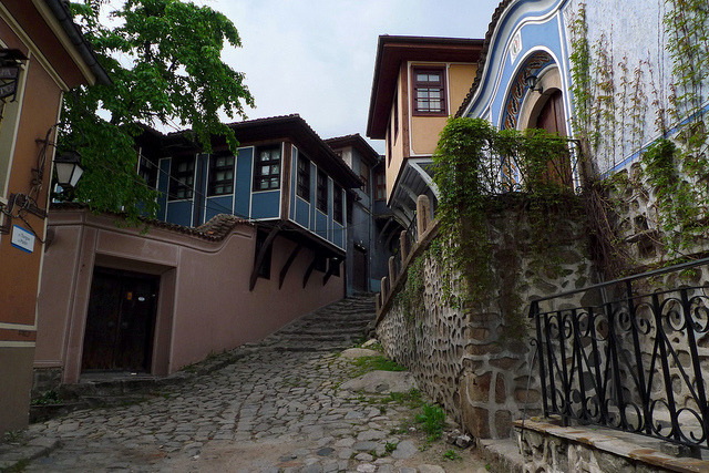 19th century houses in Plovdiv's old town, Bulgaria