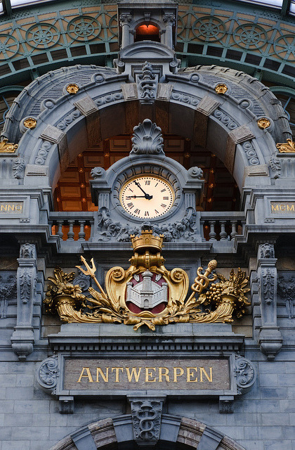 The clock at Antwerpen-Central Railway Station, Belgium