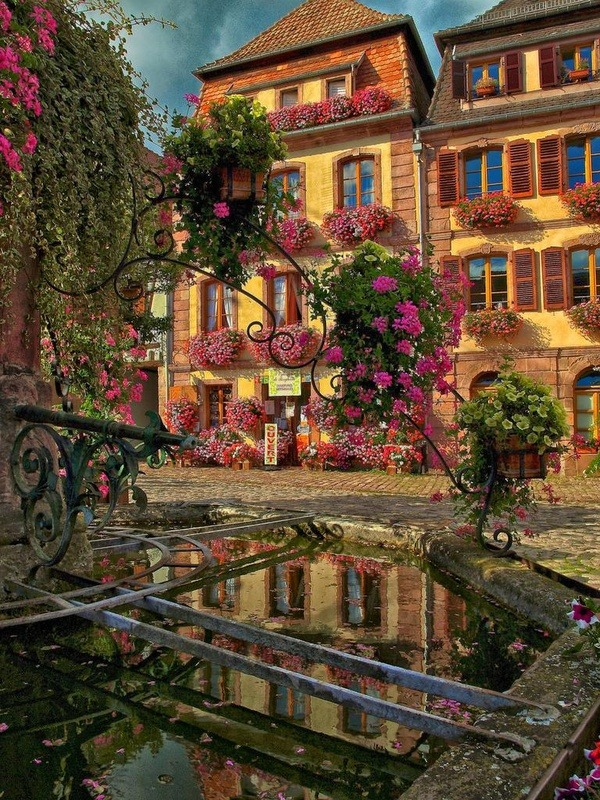 Village Fountain, Bergheim, France