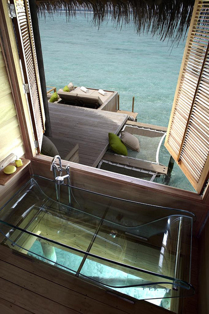 Bathroom with a view, Six Senses Resort, Maldives . This one is for kallima ;)