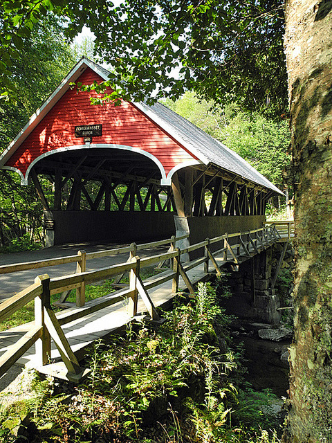 The Flume covered bridge in Franconia Notch State Park, New Hampshire, USA