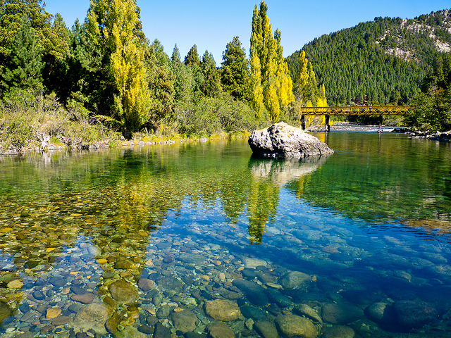 Clear waters of Rio Meliquina in Neuquen, Argentina