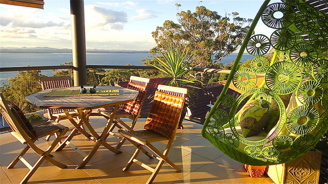 Green hanging chair in Nelson Bay, New South Wales, Australia