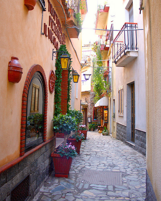 Picturesque streets of Castelmola in Sicily, Italy