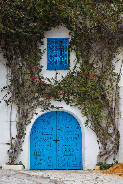 Typical blue door in Sidi Bou Said, Tunisia