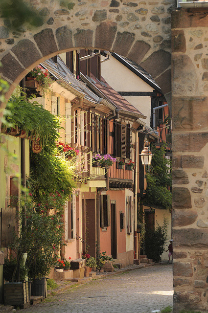 Picturesque streets of Kaysersberg in Alsace, France