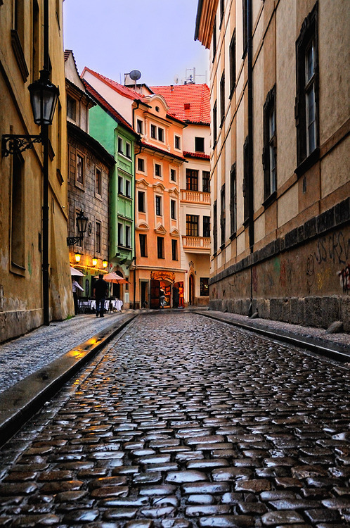 Cobblestone Street, Prague, Czech Republic