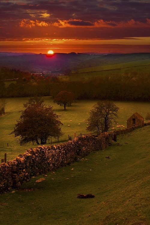 Sunset, Peak District, Derbyshire, England