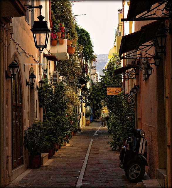Early morning on the streets of Rethymno, Crete Island, Greece