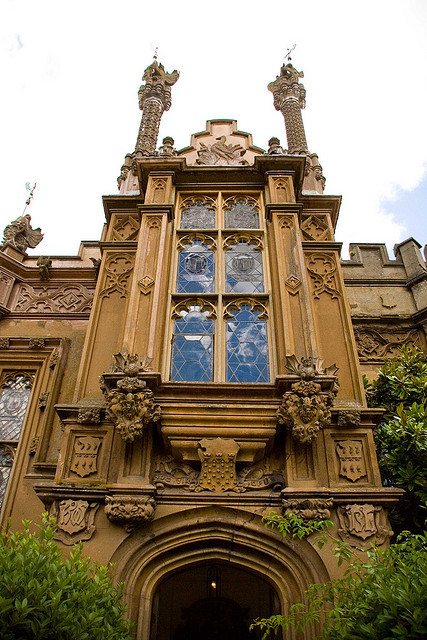 Gothic entrance at Knebworth House in Hertfordshire, England