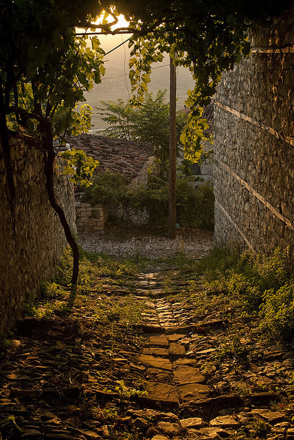 Sunset on the old narrow streets of Berat, Albania
