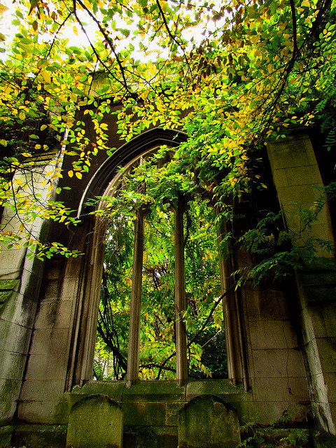 The ruins of St Dunstan-in-the-East church in London, England