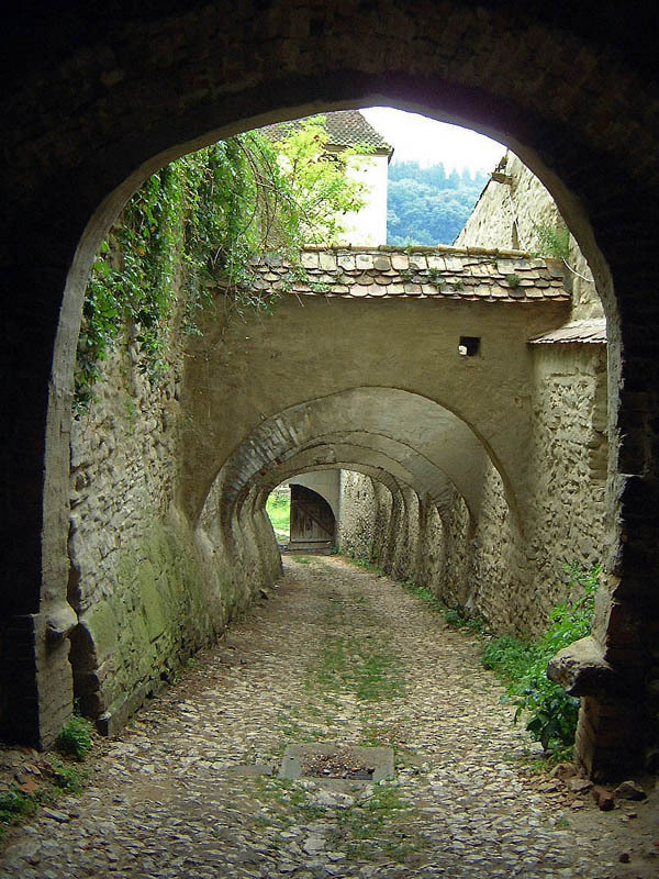 Archways of Biertan fortified church in Transylvania, Romania