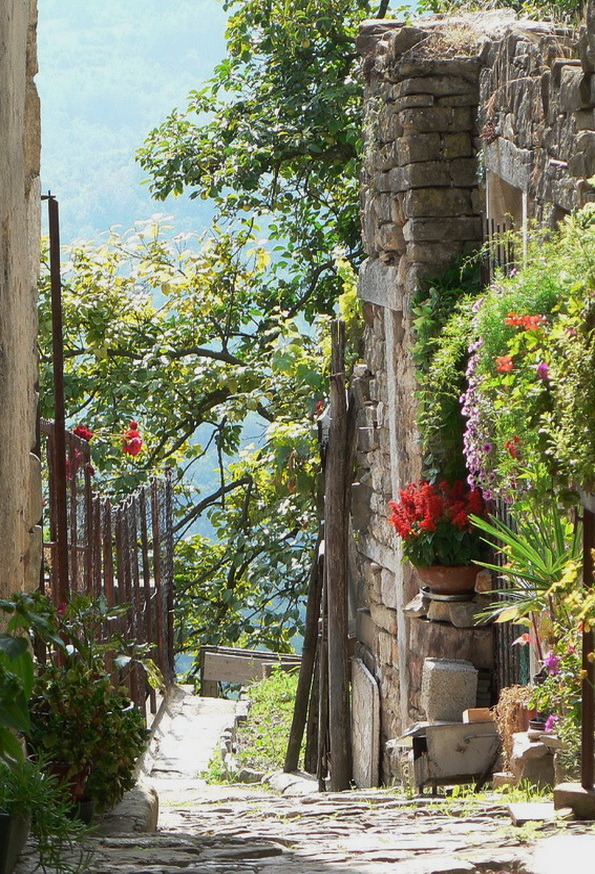 Pretty street in the hilltop town of Motovun, Croatia