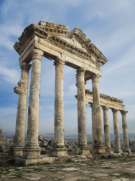 The ruined colonnades of Apamea in northwestern Syria