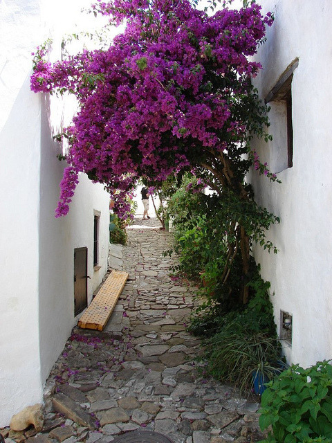 Charming narrow streets of Castellar de la Frontera in southern Spain