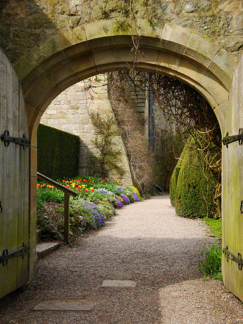 Entrance to Chirk Castle in Wrexham, Wales