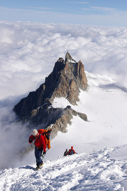 Mountaineers coming up from Aiguille du Midi near Chamonix, France