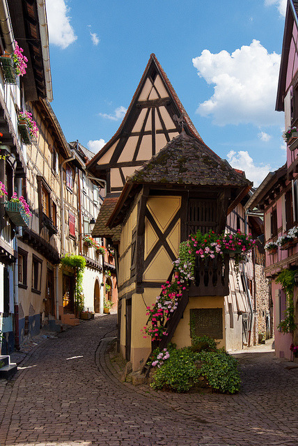 The picturesque streets of Eguisheim in Alsace, France