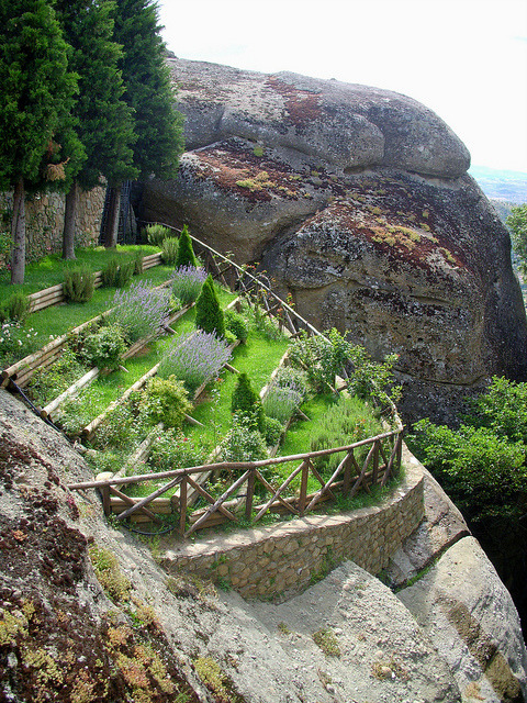 Suspended cliff garden at Meteora, Greece
