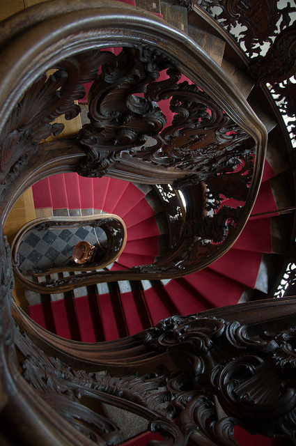 Rococo spiral staircase inside The Red House in Monschau, Germany