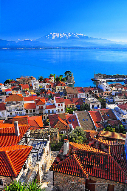 Rooftop view over Nafpaktos, Gulf of Corinth, Greece