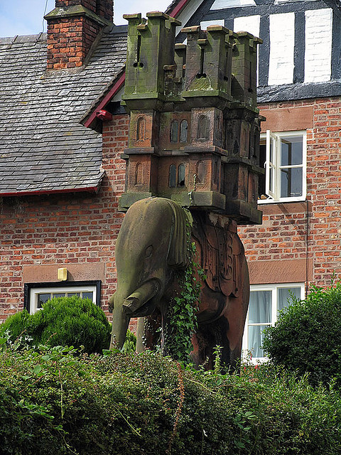 Elephant carrying the castle, Peckforton, England