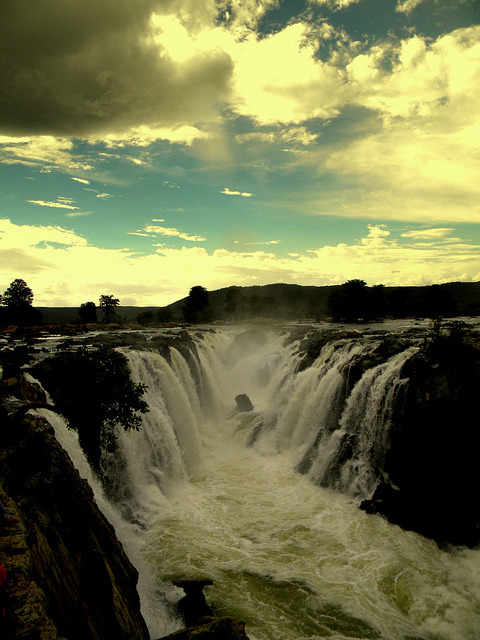 Hogenakkal Falls on the Kaveri River in Tamil Nadu / India